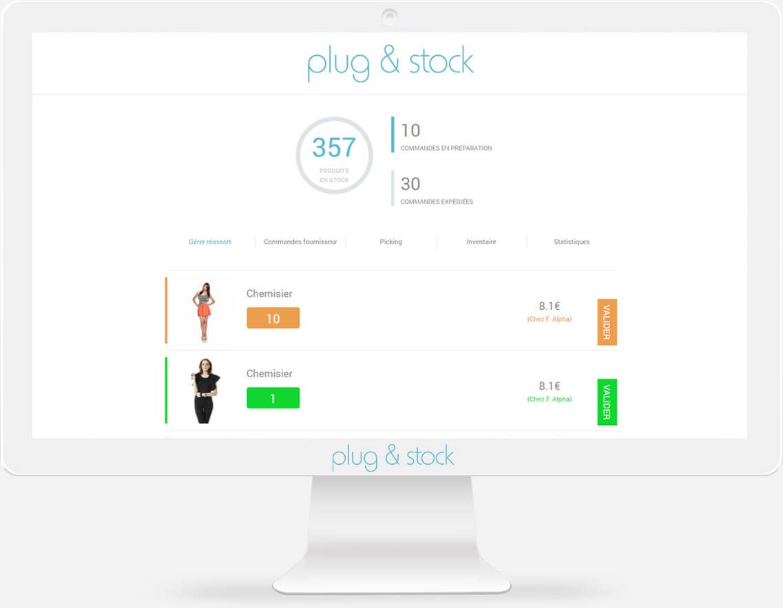 Rendu du logiciel plug&stock